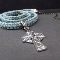Gray Macrame Men's Necklace:  Blue Grey Cord Hipster Unisex Jewelry, Celtic Cross Inspirational Gift for Him