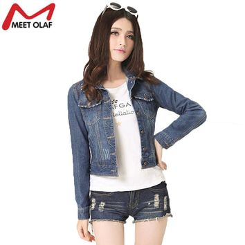 2017 Short Denim Jacket Women Autumn Denim Coats Female Plus Size Long Sleeve Outerwear Girls Jean Coat casaco feminino YL371