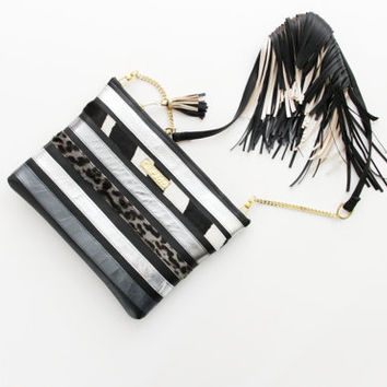 COLOR TUKAN 4 / Black and blue shades convertible natural leather purse with fringe epaulette - Ready to Ship
