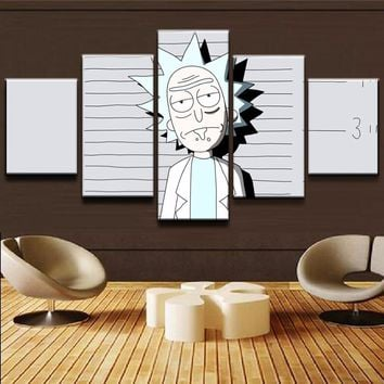 5 Pieces Rick And Morty Pictures Living Room Wall Art Cartoon Comic Poster Framework