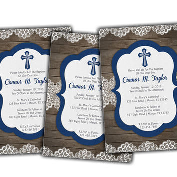 Country Navy Blue Wood and Lace Baptism Invitation - Christening Invitations for Boy - Religious - Spanish - LDS - Rustic - Vintage Lace