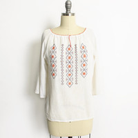 Vintage 70s Blouse - Gauze Cotton Embroidered Ivory Boho Top 1970s - Small