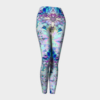 Dream Weaver, Compression fit performance Leggings, XS,S,M,L,XL, Hand Made Activewear, Purple, Azure, Yoga pants