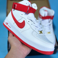 hcxx N452 Nike Air Force 1 Just Do It AF1 High Casual Sports Skate Shoes White Red