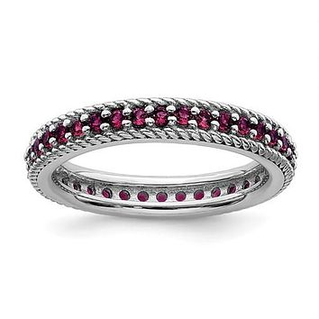 Sterling Silver Stackable Expressions Created Ruby Eternity Ring