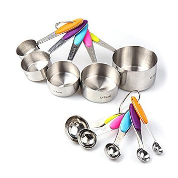 Measuring Cup and Spoon 10 Piece Set in Stainless Steel for Kitchen, Cooking, Baking
