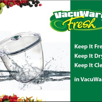 Vacuware Big Saver with 14 cup and 10 cup Fresh Containers, 2 Fresh Jar Lids, plus Fresh Pump