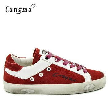 CANGMA Italy Brand Sneakers Men Casual Shoes Autumn Red Handmade Cow Suede Vintage Man Leisure Shoes Zapatos Hombre Large Size