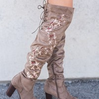 Topaz Embroidered Thigh High Boot (Taupe)