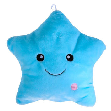 Cute Colorful Cartoon Body Pillow Glow LED Luminous Light Pillow Soft Smile Star Cushion Hot Sale