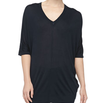 V-Neck Silk Jersey Poncho, Midnight - Michael Kors
