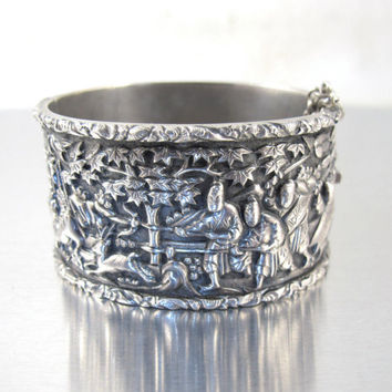 Antique Chinese Export Bracelet, Sun Shing Of Canton. Signed Story Teller Silver Bangle, 19th Century Chinese Wedding Jewelry