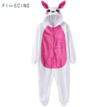 Animal Rabbit Cosplay Costume White Rose Thick Warm Flannel One Piece Pajama Suit Adult Women Girl Party Birthday Games Fancy