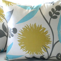Pillow cover  Dahlia Print Floral  18 x 18