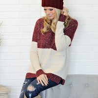 * Serena Cozy Sweater With Pocket : Cranberry