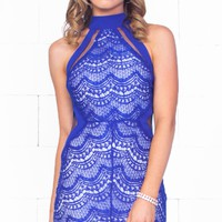 True Love Royal Blue Lace Sleeveless Mock Neck Halter Bodycon Mini Dress