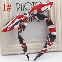 Women Stripe Rabbit Ears Bow Floral Headband Hair Band Head Wraps Hair Hoop