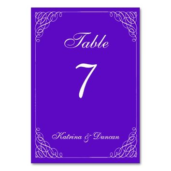 Elegant Swirl Violet Personalized Table Card