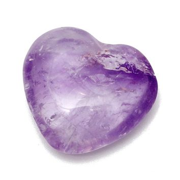 Beautiful 25mm Purple Amethyst Crystal Quartz Carved Heart Shape Healing Calming Gem Stone for DIY Pendants Crafts Home Decor