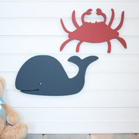Red Crab beach wall decor  blue wooden whale nautical home beach house nautical nursery sea creatures red nursery decor cottage decor