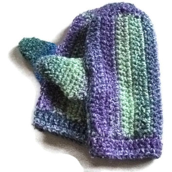 CLEARANCE SALE Medium Chunky Mittens in Greens, Blue & Purple.Accessories, Winter Warmers.