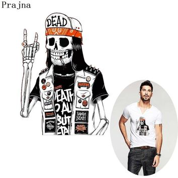 Prajna Rock Zombie Heat Transfers Bike Patch Skull Transfer Dead Hot Vinyl Paper Sticker For T-shirt Iron On Clothing Punk Man