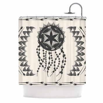 "Famenxt ""Bohemian Dream Catcher Boho"" Black Beige Shower Curtain"