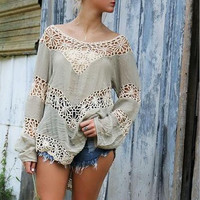 Long-Sleeved Openwork Crochet Bikini Blouse B007601