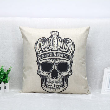 Vintage Printed Pillow Case Crown Skull Cushion Cotton Linen Cover Square 45X45CM