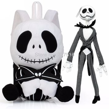 "New The Nightmare Before Christmas 16"" Plush Backpack 12.5'' Jack Skellington Plush Stuffed Skull Shoulder Doll Bag Set of 2Pcs"