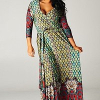 Multi Color 3/4 Sleeve Wrap Maxi (Sizes 12-18) - DRE607MU