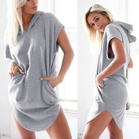 Women Loose T-Shirt Hoody Pullover Sweatshirt T-shirt _ 7938