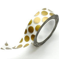 Washi Tape Paper Masking Tape - Metallic Gold Polka Dots