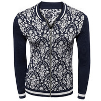 Navy Tribal Floral Knitted Cardigan
