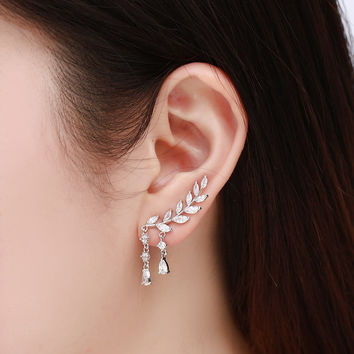 925 Sterling Silver Earrings Long Leaves AAA Zircon Earrings For Women's Wedding Gift Luxury CZ Diamond Stud Earrings Jewelry