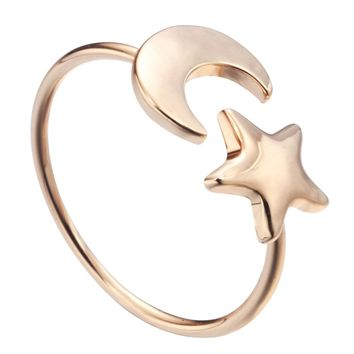 Kinitial 1Pcs Gold Silver Plated Crescent Moon Star Rings for Women Adjustable Rings BFF Ring Couple Rings Party Gift Jewelry