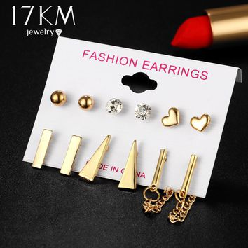 17KM 6 Pairs/Set Triangle Tassel Long Stud Earring Vintage Mixed Shape Crystal Heart Beads Earrings Set For Women Party Jewelry