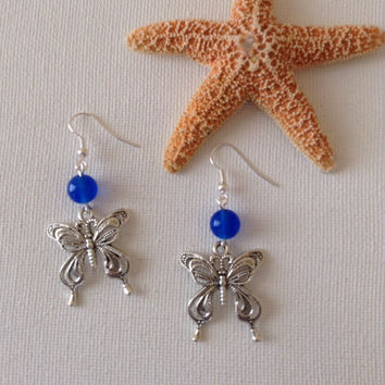 Blue jade and filagree butterfly earrings, butterfly esrrings, mothers day gifts, gifts for her, butterfly lovers