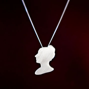 Mathematician Sophie Germain Cameo Necklace, Sterling Silver STEM Women Necklace, Math Tech Geek Gift Idea, Feminist Jewelry, Geek Jewellery