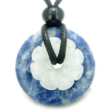 Double Lucky Amulet Magic Donut Flower Sodalite White Jade Protection Healing Pendant Necklace