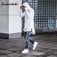 Top Sale 2017 Jamickiki Brand Mens Fashion Pullover Hoodies High Streetwear Black Hooded Sweatshirts H03