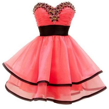 Sweetheart Organza Strapless Short Homecoming Party Dress