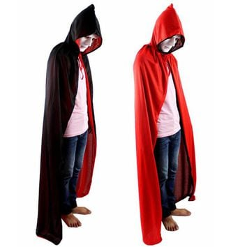 Red Black Death Cloak With Hat Kids Adults Cosplay Costume Accessories Double Side Capes Halloween Party Dress Supplies