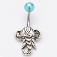 Elephant Navel Belly Button Rings Steel Belly Bars Piercing Body Jewelry