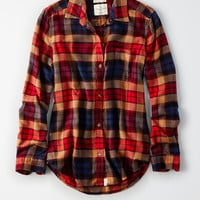 AEO Ahh-Mazingly Soft Plaid Boyfriend Shirt, Black