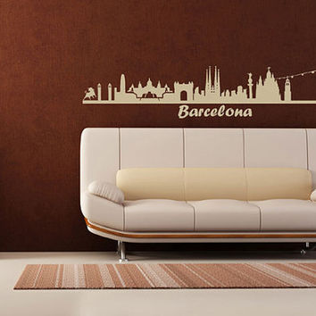 Wall Vinyl Sticker Decals Decor Art Bedroom Design Mural Words Sign Barcelona Town City Skyline (z1017)