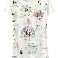 ROMWE Beauty Print White T-shirt