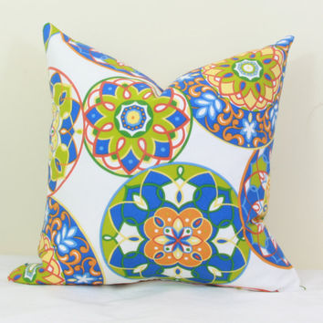 "Blue, green & orange indoor/outdoor throw pillow cover. 18"" x 18"". outdoor pillow cover. toss pillow."