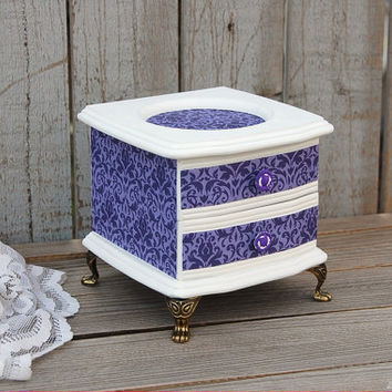 Jewelry Box, Shabby Chic, French Provincial, Purple, White, Decoupage, Upcycled, Damask, Hand Painted