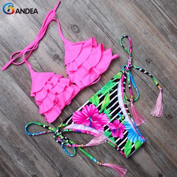 BANDEA 2017 bikini sexy women swimsuit halter swimwear female swimsuit brazilian bikini set bandeau bathing Suit beach wear 6705